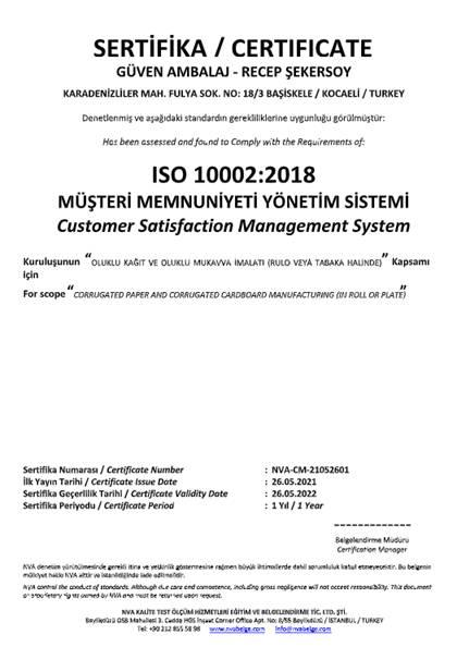 ISO 10002:2018 - MÜŞTERİ MEMNUNİYETİ YÖNETİM SİSTEMİ